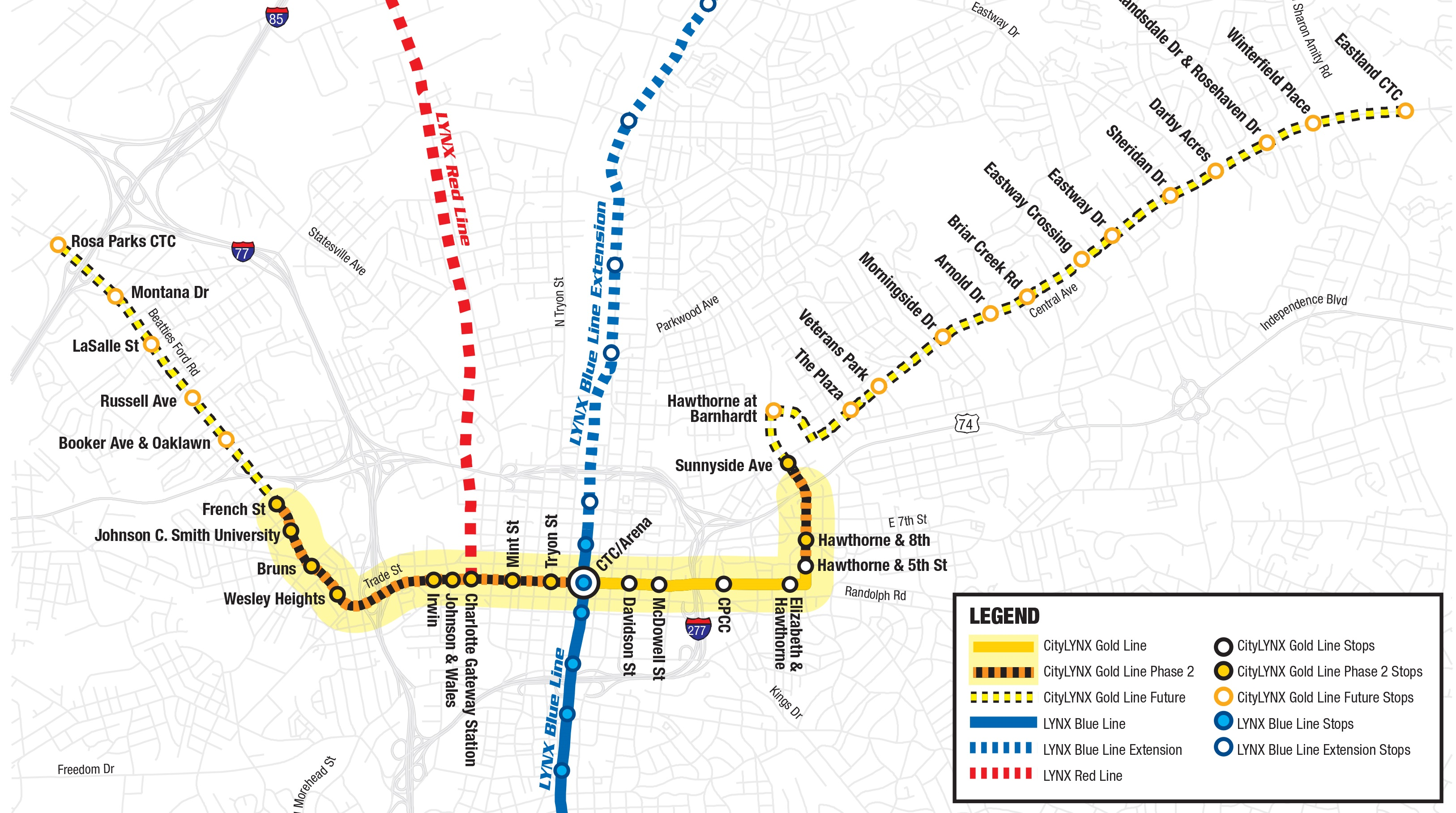 Gold Line Map CityLYNX Gold Line