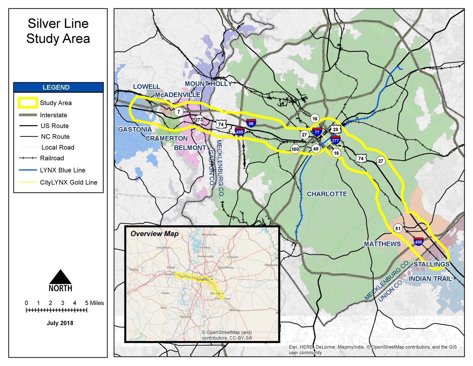Map of the Silver Line Study Area from Indian Trail/ Stallings to Gastonia/Lowell, along the 77/277 route.
