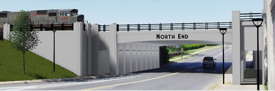 Rendering of North Tryon Gateway bridge