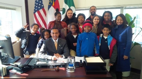 Mayor Patrick Cannon met with parents and students participating in the Thomasboro Academy Truancy Court Program