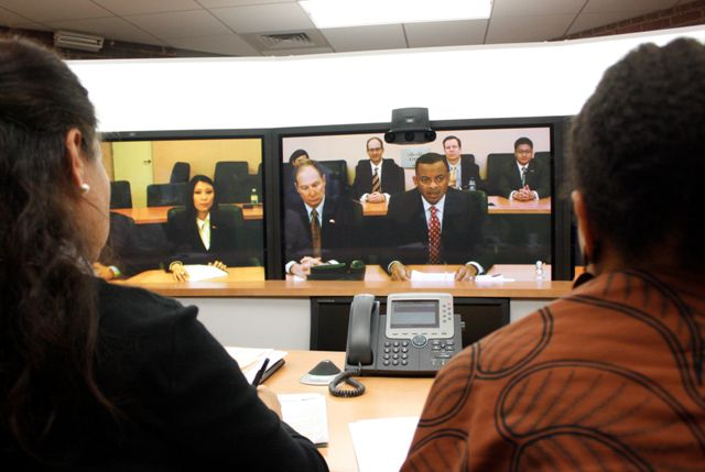 Mayor's telepresence from Beijing to Charlotte