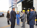 Mayor Foxx and delegates meet with representatives at the Tianwei wind turbine manufacturing facility