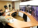 Members of the local media took part in a telepresence with Mayor Foxx and delegates, who were in Beijing.