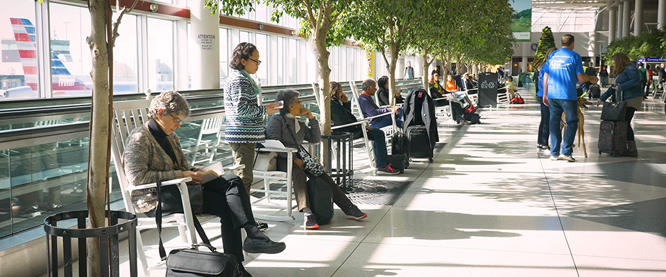 Airport rocking chairs