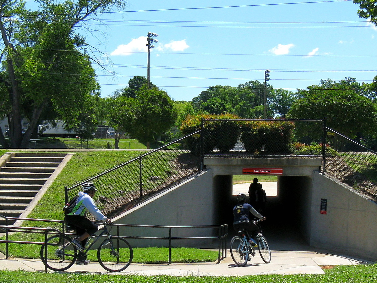 Bicycles entering tunnel